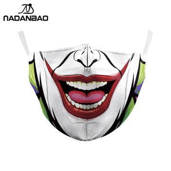 NADANBAO Halloween Funny Joker Face Print Masks Kids Washable Fabric Masks Women Adult Face Cover Reusable Fashion Outside Mask 1