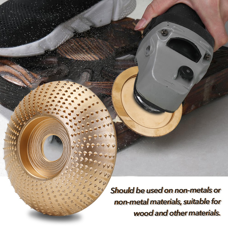 HOT-Wood Grinding Wheel Angle Grinder Disc Wood Carving Disc Sanding Abrasive Tool Bore Gold