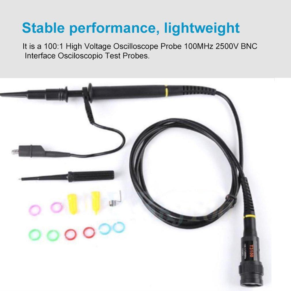 tensão 100 mhz 2500 v bnc relação osciloscopio teste sondas