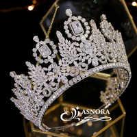 Di Lusso Miss Universo Grande Corona di Cristallo di Cerimonia Nuziale Corona Copricapo Della Sposa Sfilata di Laurea Corona Cz Dei Monili Tiara Non Scolorire