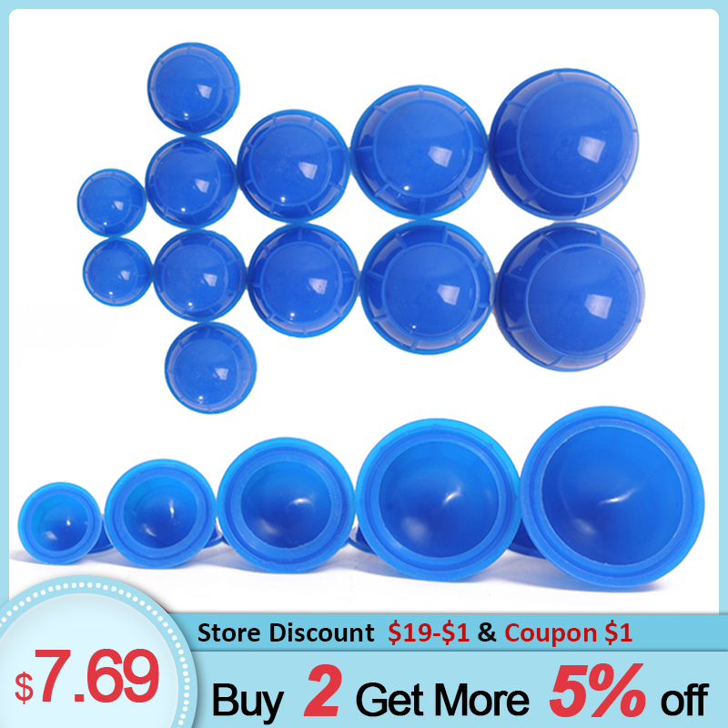 12pcs Vacuum Cupping Set Silicone Cupping Therapy Cans Rubber Body Slimming Suction Cups Back Massager