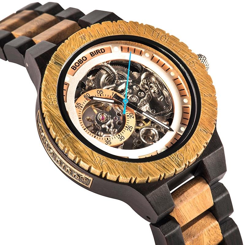 BOBO PÁSSARO R05 Mecânico Automático Relógios de Luxo Men Watch Presente para O Pai relogio masculino de luxo De Madeira