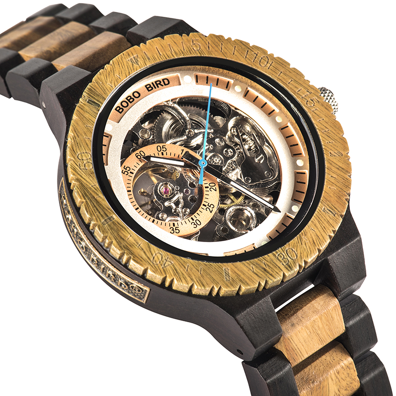 Bobo pássaro r05 relógios mecânicos automáticos masculinos de luxo de madeira relógio masculino presente para o pai relogio masculino de luxo presente de natal
