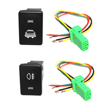 Push Rocker Switch LED Headlight & Fog Light Connector Wiring Kit For Toyota Tacoma 4Runner 2012-ON image
