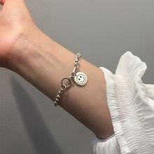 Cadena de cuentas de cara sonriente para mujer y hombre, pulsera de plata de ley 925, joyería, regalos al por mayor, S-B391