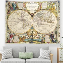 Vintage World Map Wall Tapestry Historical Art Print Map Tapestry Hanging for Bedroom Decor