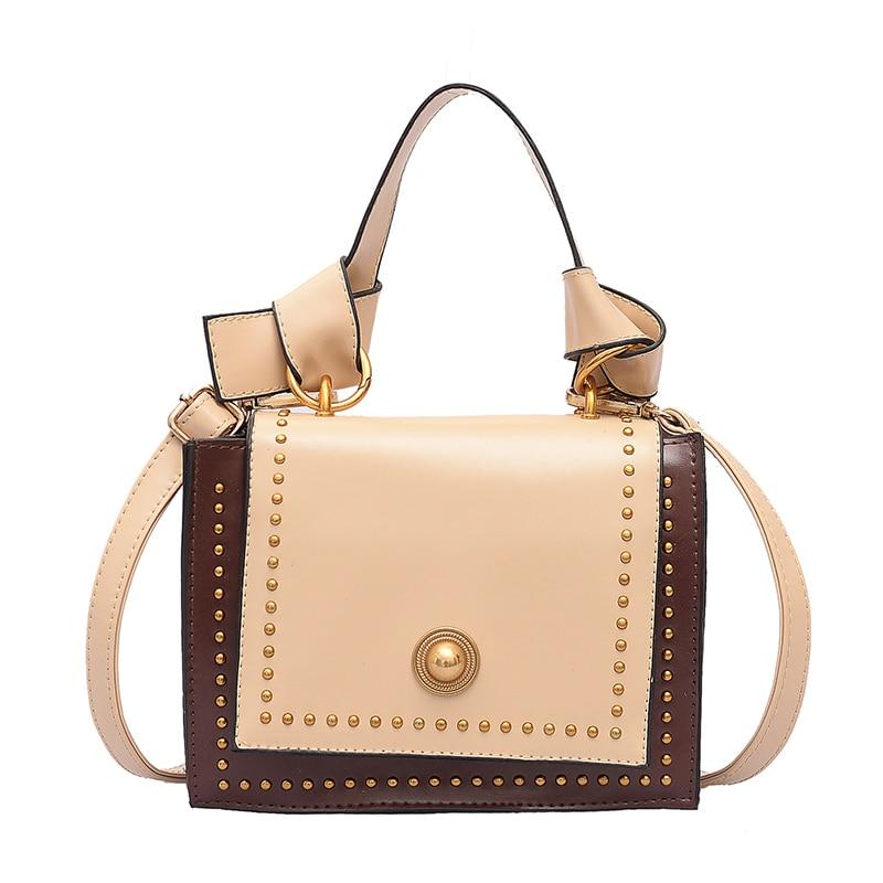 Модная Портативная маленькая сумка женская новая весенняя женская сумка Корейская версия ретро заклепки маленькая квадратная сумка косой