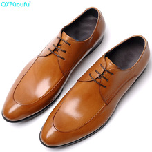 QYFCIOUFU Genuine Cow Leather Mens Formal Shoes Oxford For Men Business Wedding Men's Office Dress Shoes Lace Up Italian Shoes