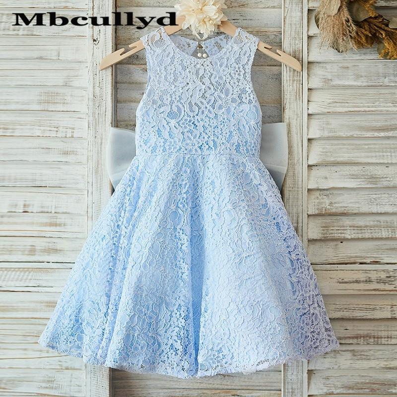 Mbcullyd Light Blue   Flower     Girl     Dresses   For Weddings 2020 Luxury Lace Vestidos de primera comunion Cheap Plus Size Pageant   Dress