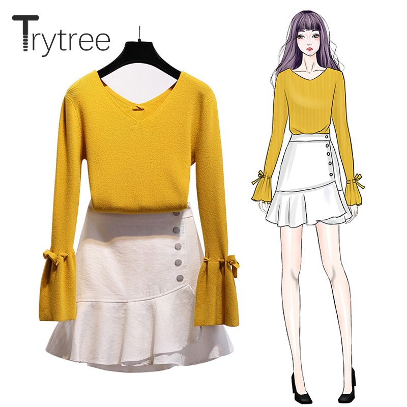 Trytree Autumn Winter Two Piece Set Casual V-neck Flare Sleeve Knitted Top + Skirt Ruffles Button Office Lady Suit 2 Piece Set
