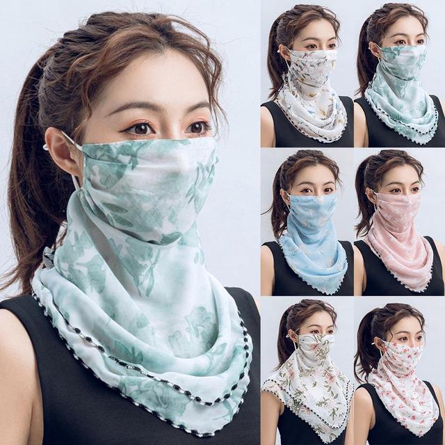 Rose Flower Women Summer Chiffon Anti-UV Thin Scarf Neck Face Cover Shawl face-mask protection