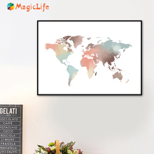 World Map wall art canvas painting Nordic Maps of the pictures posters and prints For Living Room Decoration unframed