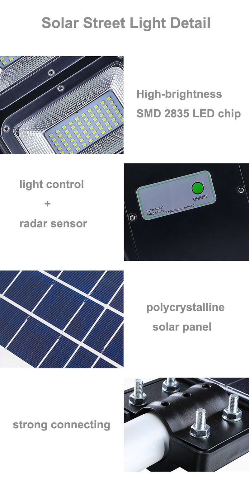 BSOD Led Solar Street Light 20W 40W 60W with Motion Sensor Remote Controller IP65 Waterproof LED Outdoor Light SMD2835 Led Chip