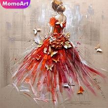 MomoArt Diamond Embroidery Flowers Painting Girl Mosaic Full Drill Rhinestone Home Decor Accessories