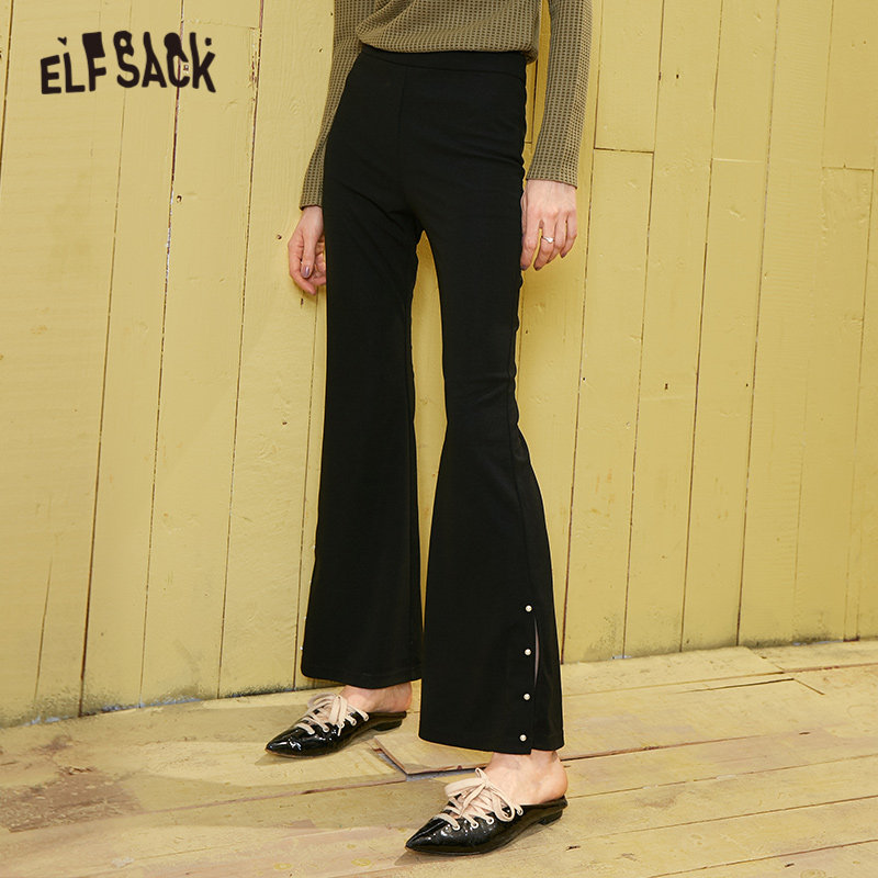 ELFSACK Black Solid Beaded Elastic Waist Casual Women Pants 2020 Spring Pure Split Straight Ladies Basic Daily Flare Trouser