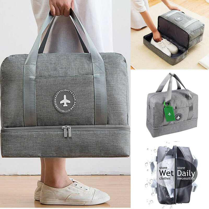 Men Multifunctional Shoulder Messenger Bag With Headphone Hole Waterproof Nylon Travel Handbag Large Capacity Storage Bags