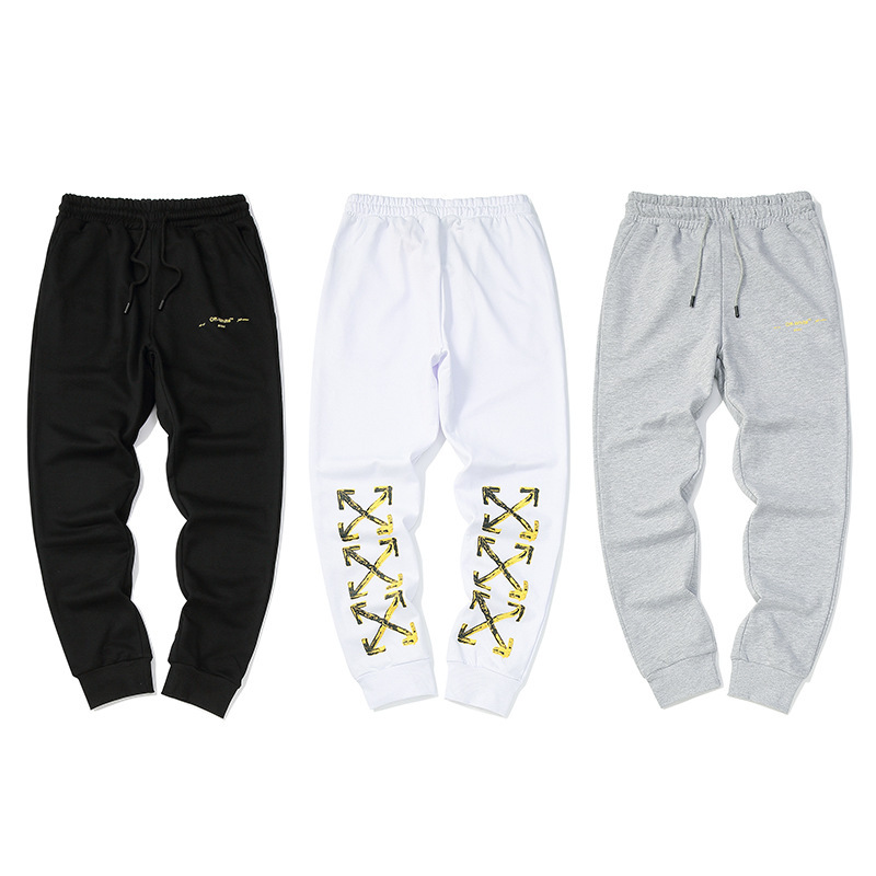 Off White Gold Painting Arrowhead Printed Pure Cotton Thin Looped Pile Casual Pants