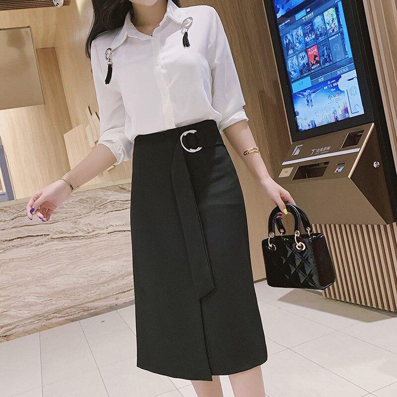 Photo Shoot Long Skirts Female Spring 2019 High-waisted Irregular Slit Mid-length One-step Skirt Wrapped Skirt A- Line Skirt Ski