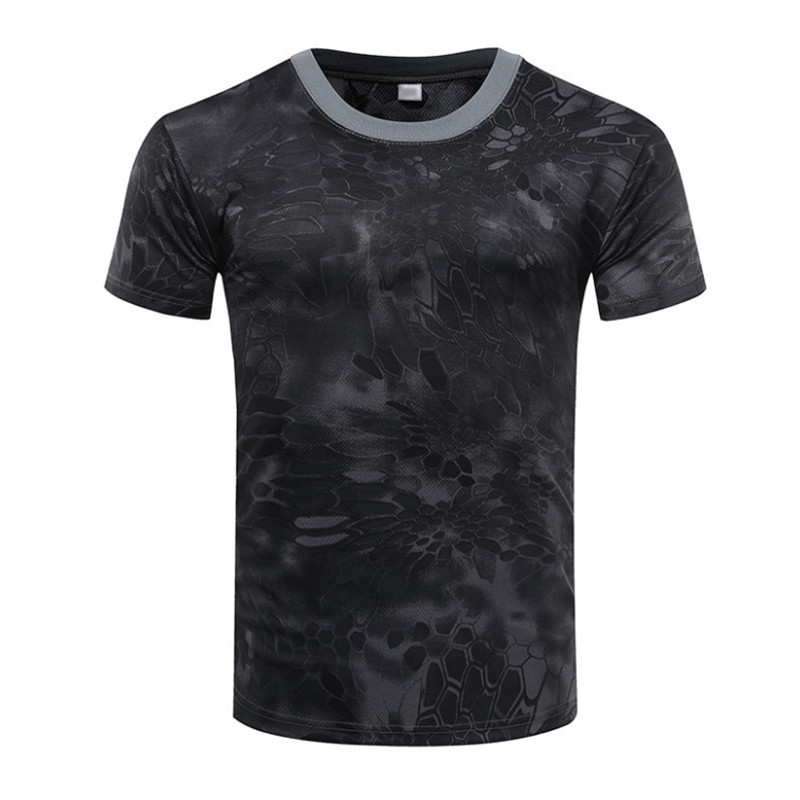 Summer Camouflage T-Shirt Quick Dry Tights Breathable Army Tactical T-shirt Mens Compression Tee Shirt Fitness Running Outdoor