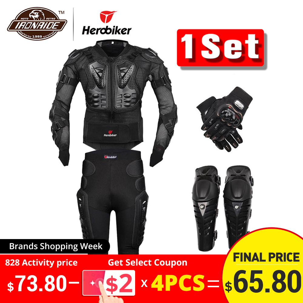 Shorts Guard Protective-Gear Motorcycle-Jacket Body-Armor Motocross Racing Gloves Pants