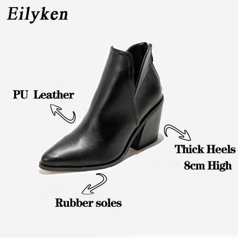 Eilyken Giày Nữ Đầu Mùa Đông Cổ Chân Da Báo Giữa Gót Giày Nữ Trơn Âu Đen Vuông Gót Boot Zapatos de Mujer