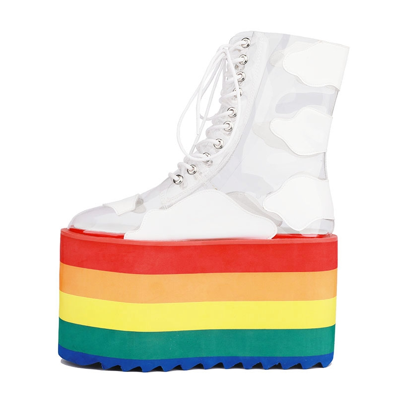 Closeout DealsGCYFWJ Women Boots Laces-Shoes Rainbow-Heel Transparent Nightclub Fashion Thick-Bottom