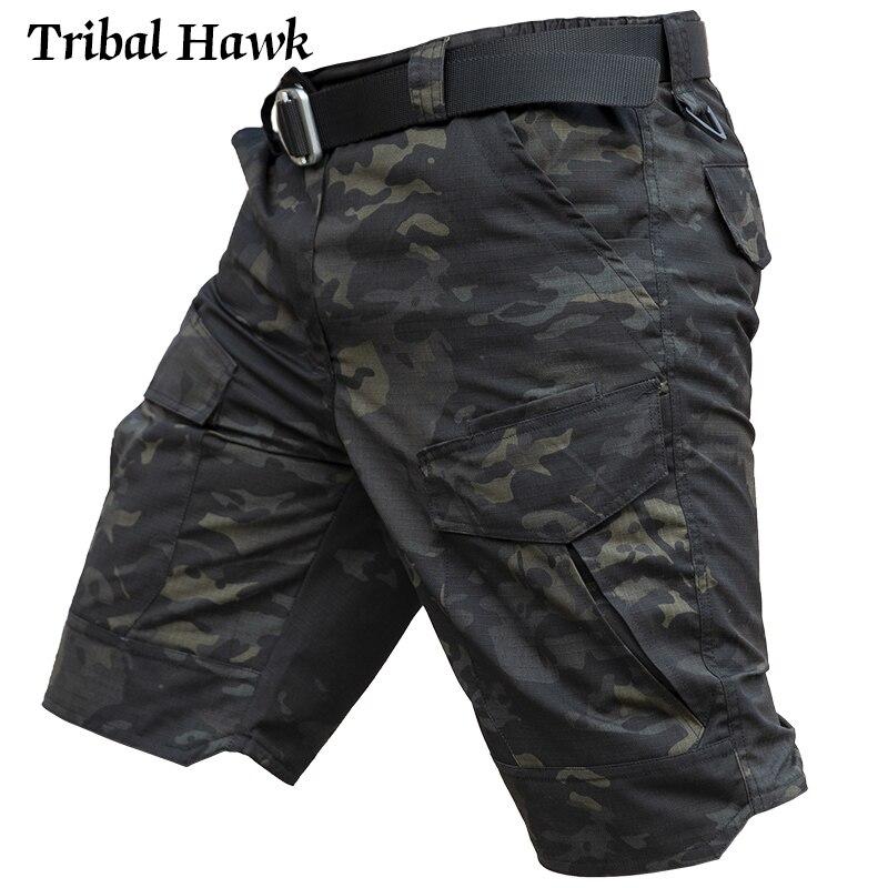Шорты-карго мужские тактические, хлопок, штаны в стиле милитари, пейнтбол, камуфляж, водонепроницаемые армейские, для страйкбола, с нескольк...