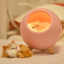Livraison directe LED lampe de nuit décorer lampe de bureau batterie rêve chat vacances créatif rechargeable ampoule pour bébé Dedroom Luminar