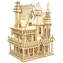 DIY Dream villa 3D Wooden model building puzzles kids toys handcraft educational games assemble kits Christmas birthday gifts(China)