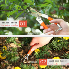 8-piece Household Garden Tools Kit: Branch Shears Folding Saw Iron Rake Small Shovel Glue Gun Sprinkerl