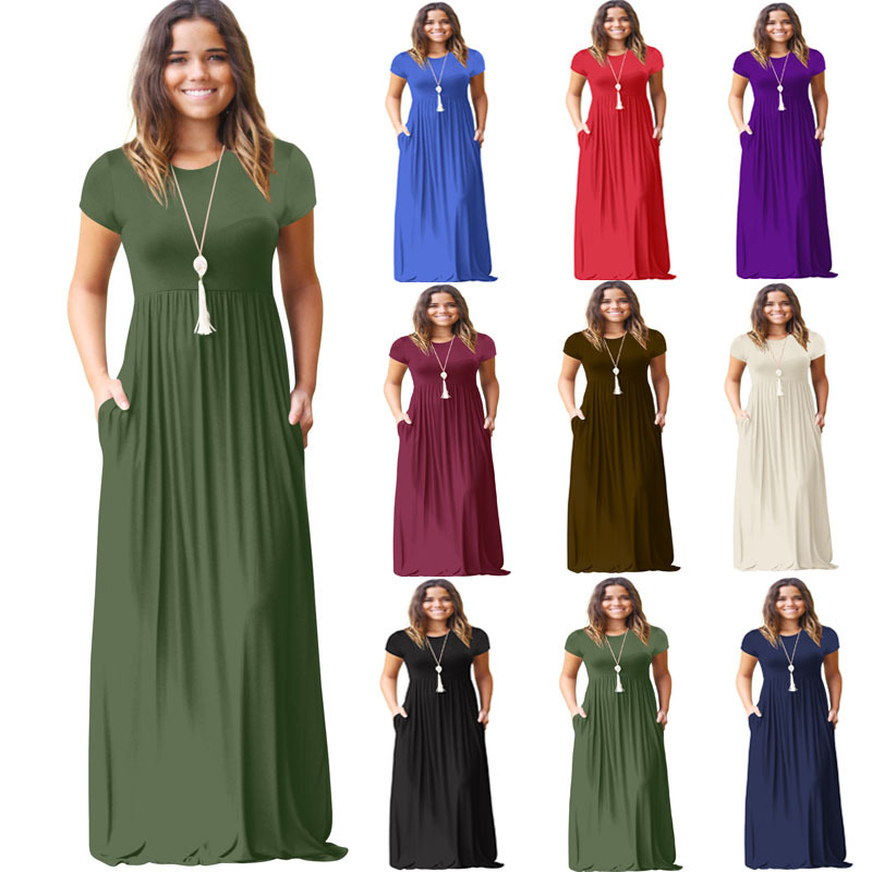 Madam Clothing OWLPRINCESS PLUS SIZE Women's New Spring Dress Casual Dress With Short Sleeves