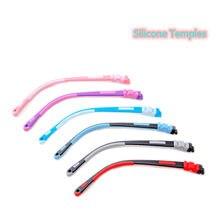 Crianças sílica + tr óculos templos snap-on cor silicone templos par multi-color opcional crianças óculos pernas acessórios