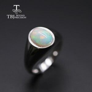 Image 3 - แหวนโอปอลธรรมชาติรูปไข่ 7*9 มม.แหวนพลอยหญิง Elegant เครื่องประดับ 925 เงินสเตอร์ลิง tbj โปรโมชั่น