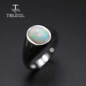 Image 3 - natural Opal Ring oval 7*9mm gemstone women Ring simple elegant fine jewelry 925 sterling silver  tbj promotion