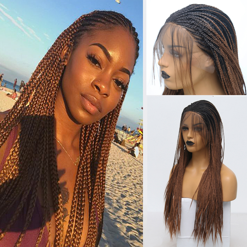Rongduoyi Long Synthetic Lace Front Wig Two Tone Braided Box Braids Wigs For Women Ombre Brown High Temperature Fiber Hair Wig