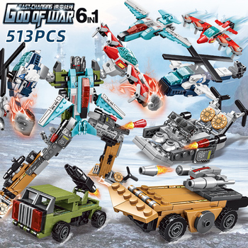 6in1 Toy Transformation Robot God of War Technic Building Block Robots Action Figure Brick for Boys Birthday Gift Constructor image