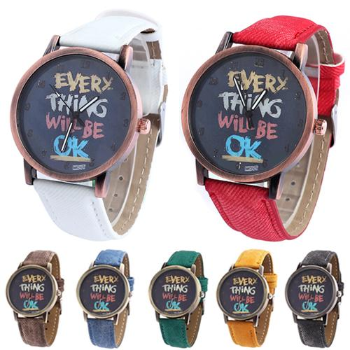 Comic Street Quartz Couple Watch Men Fashion Every Thing Will Be Ok Denim Band Analog Watch Women Clock парные часы Reloj Mujer