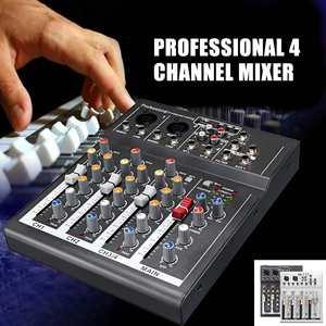Leory console de som profissional, console de som para karaokê com 4 canais, mixer profissional, preto/prata, placa de som