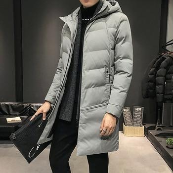 Winter Man Hooded Coat Windproof Solid Color Men's Coats Keep Warm Black Gray M-4XL Winter Man Coat
