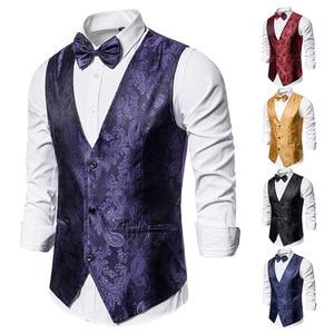 Image 2 - Banquet Wedding Waistcoat Party Waistcoat Bar Night Club Suit Men Waistcoat Bright Suit Paisley Waistcoat