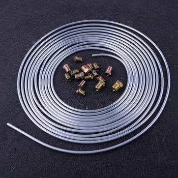 Beler srebrny 25 stóp Cewka zwojowa złącza 3 16 #8222 OD przewód giętki przewodu hamulcowego zestaw przewodów rurowych akcesoria samochodowe tanie i dobre opinie Metal Silver 0 5cm(3 16 )(It is 3 16 is not 1 4 ) approx 762cm(300inch)(25ft) for all car 25 Ft Roll x 3 16 OD brake line tubing