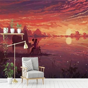 цена на milofi custom large wallpaper mural 3D romantic abstract landscape TV sofa living room background wall