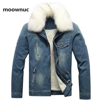 2020 men's Winter Jean Jackets Outerwear Warm Denim Coats  Men Wool Liner Thicker Denim Jackets Large Size S-6XL