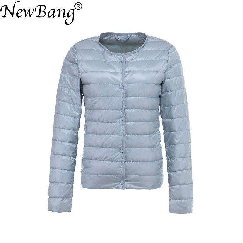 NewBang Lightweight Jacket Female Ultra Light Down Jacket Women Slim Windbreaker Without Collar Lightweight Warm Coat Two Model