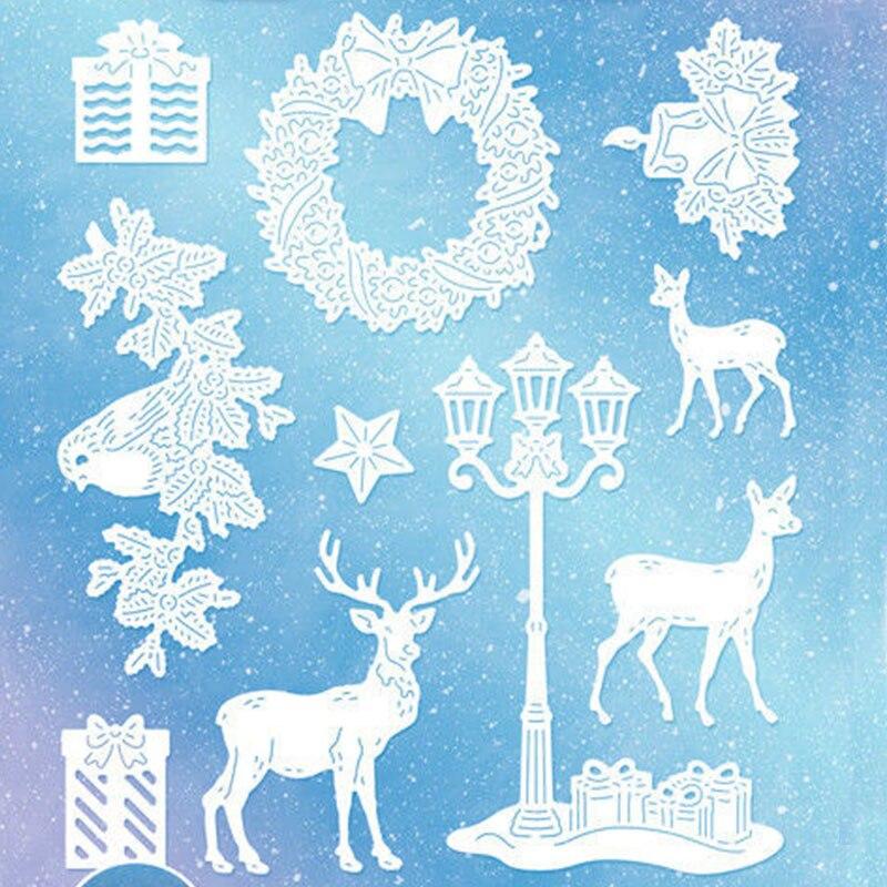 Christmas Deer Circle Metal Cutting Dies Stencils DIY Scrapbooking Paper Card TW