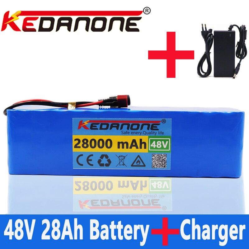 Новый аккумулятор 48 В 13s3p 28Ah, аккумулятор высокой мощности 1000 Вт, электровелосипед, BMS с T-образной вилкой и зарядным устройством