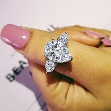 Оригинальные поступления, оригинальное 925 пробы Серебряное кольцо с грушевидной огранкой для женщин, роскошное ювелирное изделие для свадьбы, помолвки, уникальное кольцо R1904S