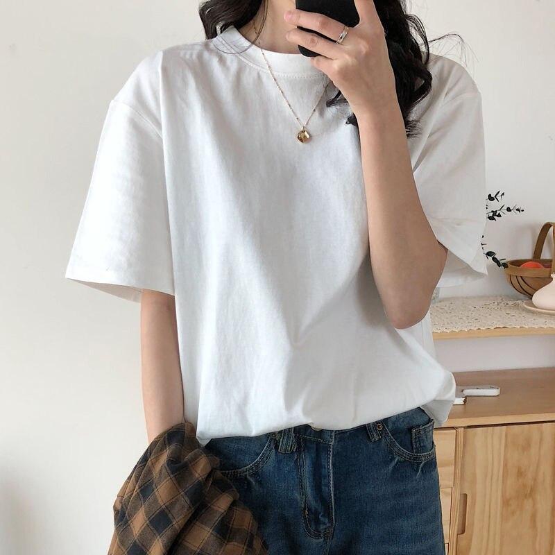 Однотонная повседневная обувь летние размера плюс футболка свободного фасона новая футболка из хлопка Простые Топы для женщин в Корейском ...