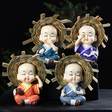 Creative Resin Little Monk Ornaments Zen Poetry Painting Straw Hat Flower Pet Tea Landscaping Decorations Crafts