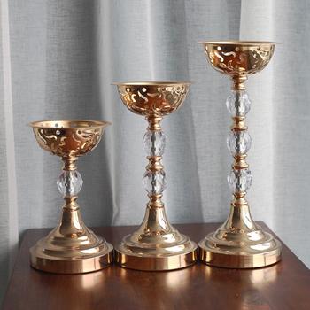 IMUWEN metalowy świecznik złoty kryształowy wazon moda świecznik ślub Exquisit tabela świecznik dekoracje do domu na imprezę IM743 tanie i dobre opinie Home Decoration CH-IM743 Dopasowanie kubek świeca Świeca stojak Duże tealight Europa iron